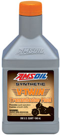 AMSOIL V-Twin Transmission Fluid. Full synthetic oil promotes quite operation